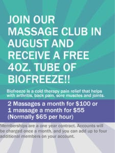 Massage Club with Free Tube of Biofreeze